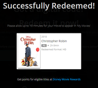Christopher Robin Vudu HDX or iTunes HD or Google Play HD or Movies Anywhere HD Code (150 Point Full Code)