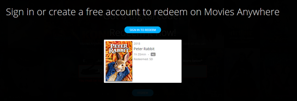 Peter Rabbit Vudu SD or iTunes SD or Google Play SD or