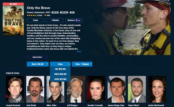 Only the Brave Vudu SD or iTunes SD or Google Play SD or