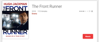 The Front Runner SD Digital Code (Redeems in Movies Anywhere; SD Vudu & SD iTunes & SD Google Play Transfer From Movies Anywhere) (THIS IS A STANDARD DEFINITION [SD] CODE)