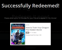 How To Train Your Dragon: The Hidden World Vudu HDX or iTunes HD or Google Play HD or Movies Anywhere HD Code (HD iTunes & HD Google Play Transfer From Movies Anywhere)