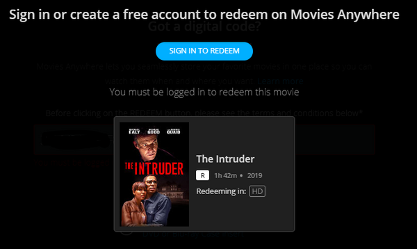 The Intruder (2019) Vudu HDX or iTunes HD or Google Play HD