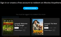Jumanji: Welcome to the Jungle & Jumanji: The Next Level 2-Movie Collection HD Digital Code (Redeems in Movies Anywhere; HDX Vudu & HD iTunes & HD Google Play Transfer From Movies Anywhere) (2 Movies, 1 Code)