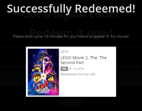 The LEGO Movie 2: The Second Part Vudu HDX or iTunes HD or Google Play HD  or Movies Anywhere HD Code (HD iTunes & HD Google Play Transfer From Movies