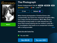 The Photograph HD Digital Code (Redeems in Movies Anywhere; HDX Vudu & HD iTunes & HD Google Play Transfer From Movies Anywhere)
