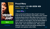 Proud Mary SD Digital Code (Redeems in Movies Anywhere; SD Vudu & SD iTunes & SD Google Play Transfer From Movies Anywhere) (THIS IS A STANDARD DEFINITION [SD] CODE)