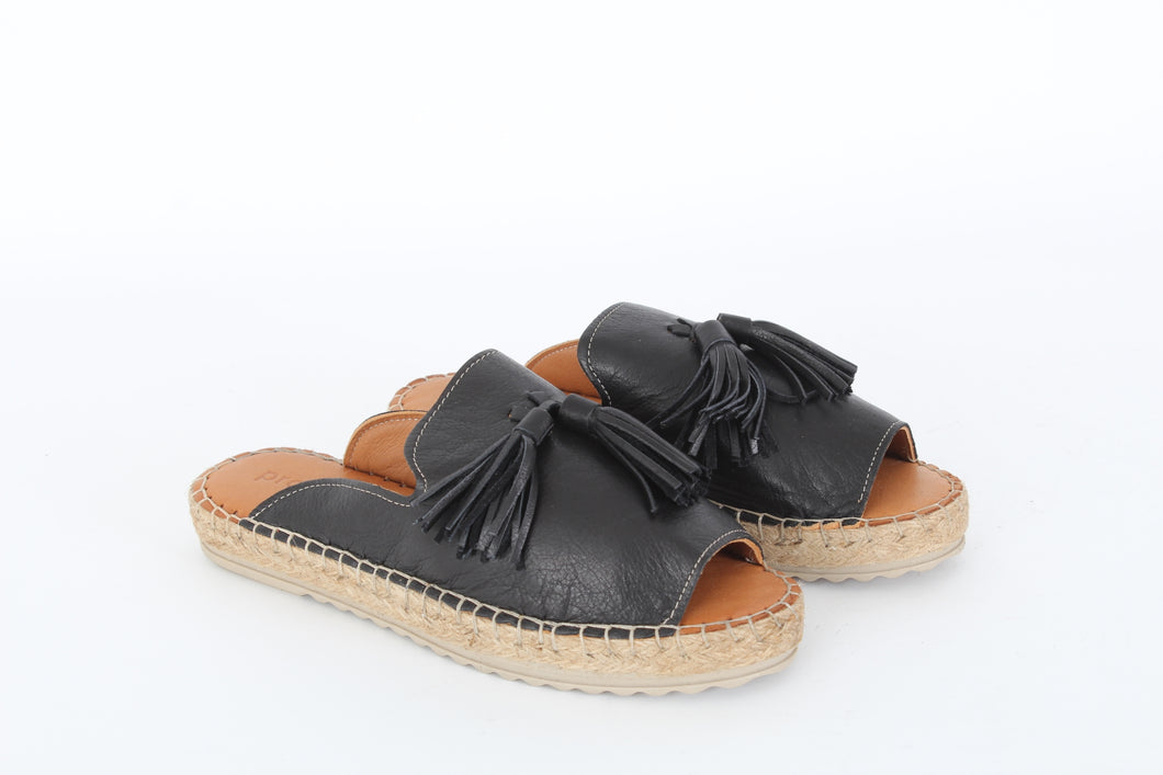 PROGETTO Leather espadrille mule