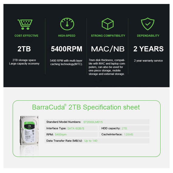 Seagate BarraCuda 2TB HDD 5400RPM 128MB Cache Mobile Hard Drive SATA 6Gb S 25 Inch Laptop Internal Disk 2 TB Harddisk