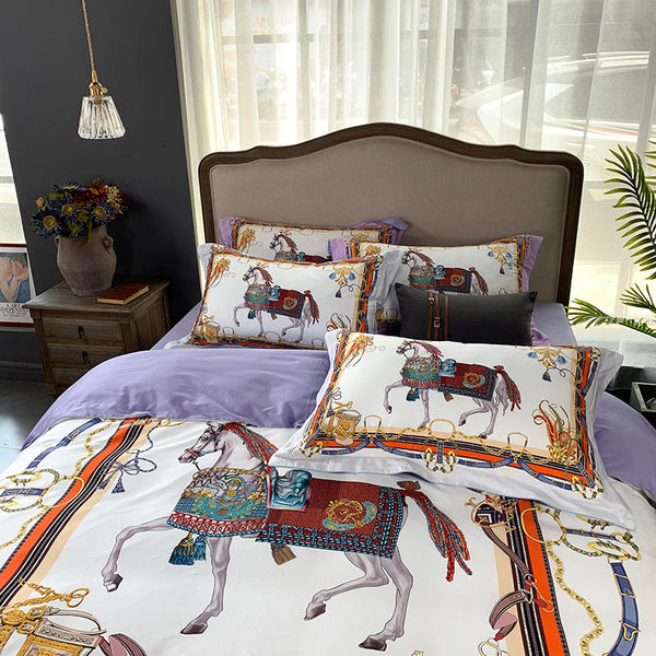 bedding with horse print