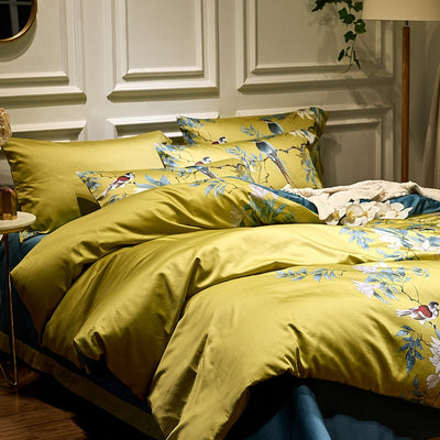 king size and queen size Chinoiserie Silky Cotton Duvet Cover Set