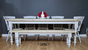 7ft Farmhouse  Rustic Dining table set with 5 chairs  and bench - Saravi Furniture