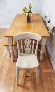 7ft Farmhouse table with 5 chairs and bench - Fiddleback
