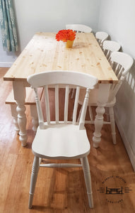 7ft Farmhouse table with 5 chairs and bench - Slat Back