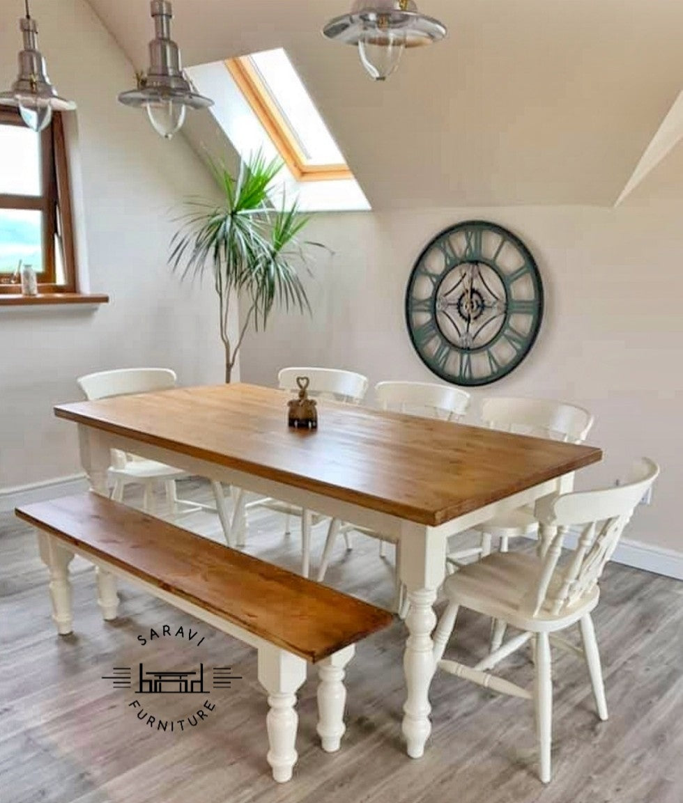6ft Rustic Farmhouse Dining Table With 5 Chairs And Bench Saravi Furniture
