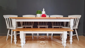 Handmade Rustic Farmhouse Dining Table with Chairs and Bench