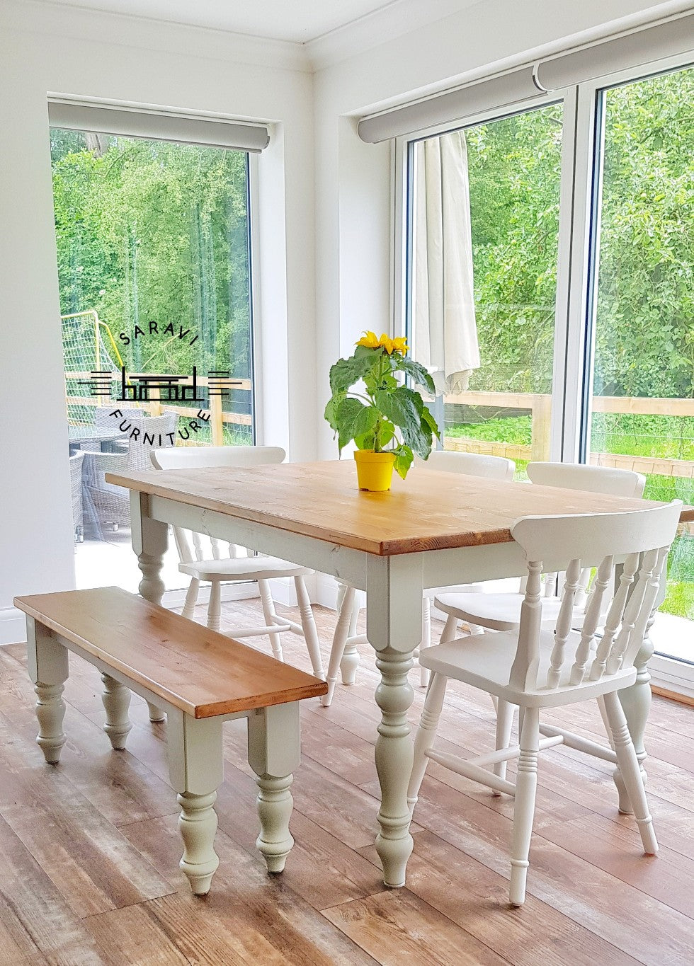 5ft Rustic Farmhouse Dining Table With 4 Chairs And Bench Saravi Furniture