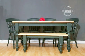 5ft Rustic Farmhouse Dining Table with 4 Chairs and Bench