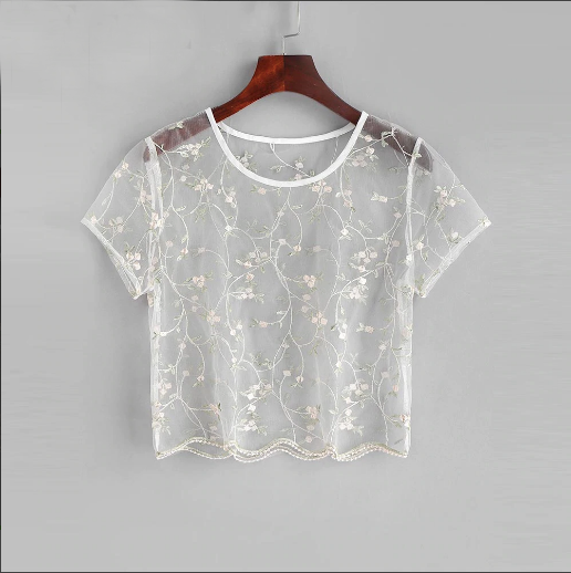 """White Floral Embroidered"" CROP TOP"