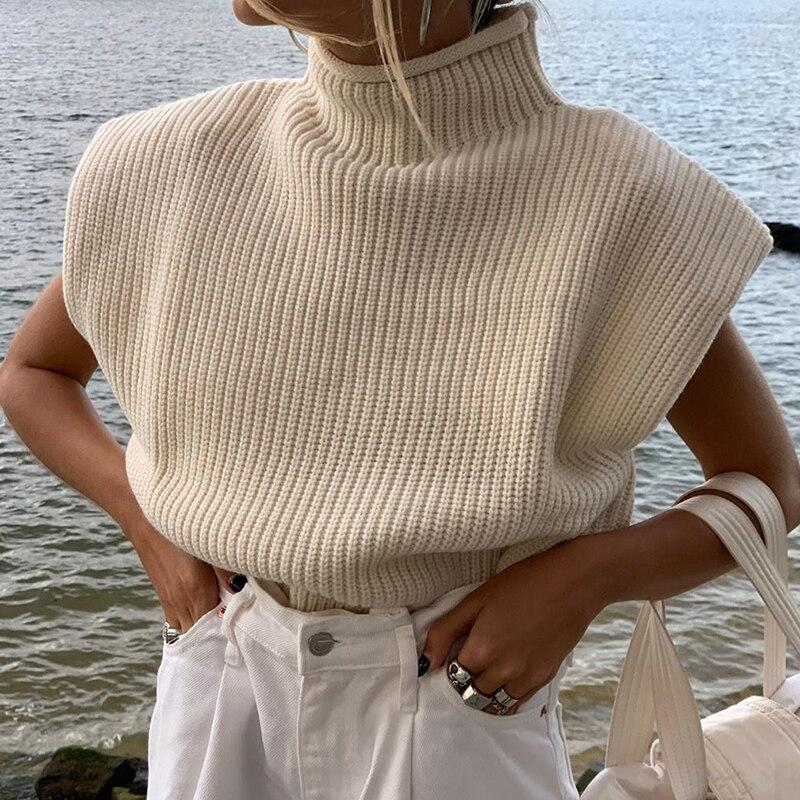 Turtleneck Sleeveless Vest