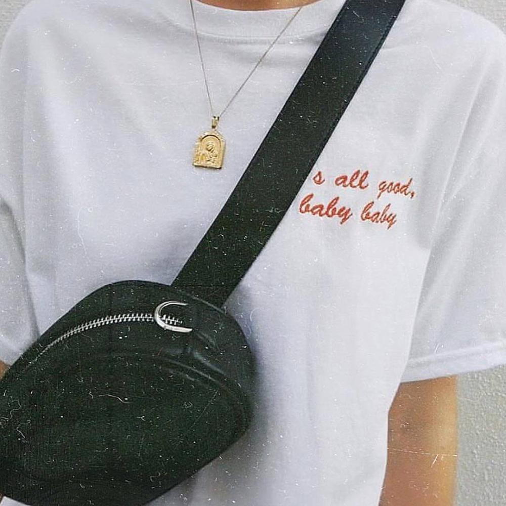 """IT'S ALL GOOD BABY BABY"" EMBROIDERED TEE"