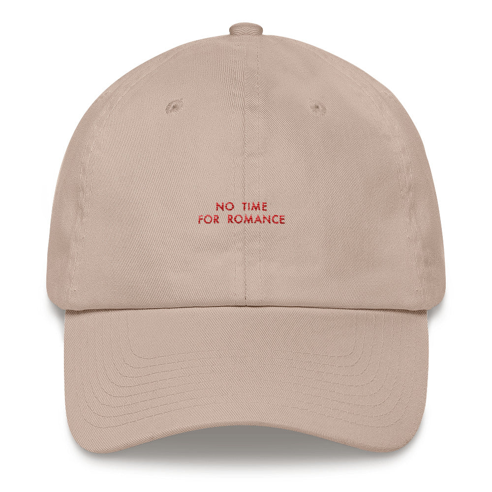 """NO TIME FOR ROMANCE"" EMBROIDERED CAP"