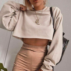 """Solid"" CROP SWEATER"