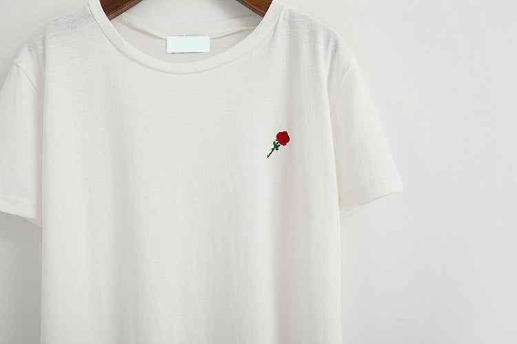 """ROSE"" EMBROIDERED TEE"