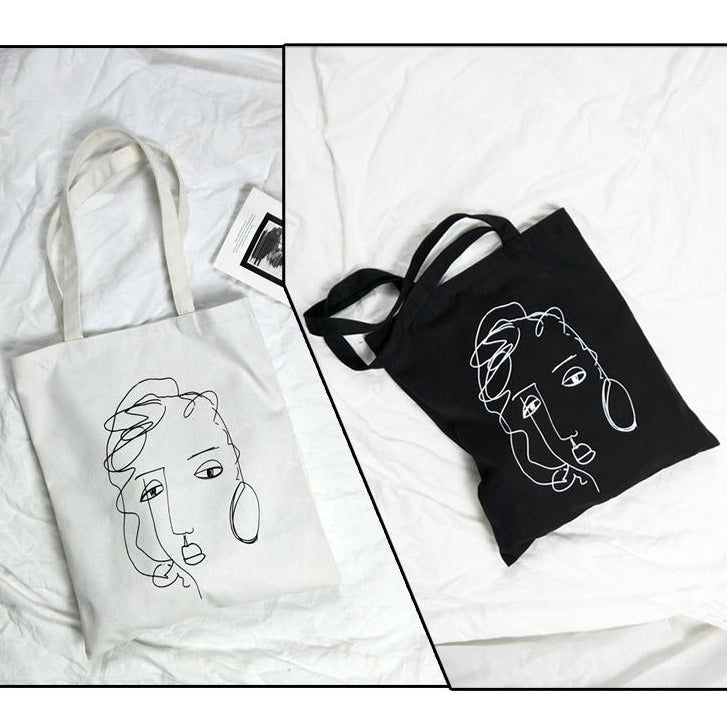 ABSTRACT DRAWING TOTE BAGS