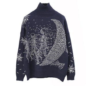 """UNIVERSE MOON"" OVERSIZED KNITTED PULLOVER"