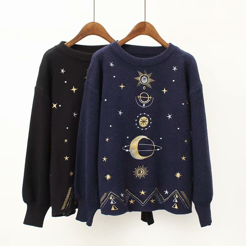 """MOON & STAR"" EMBROIDERED KNITTED SWEATERS"