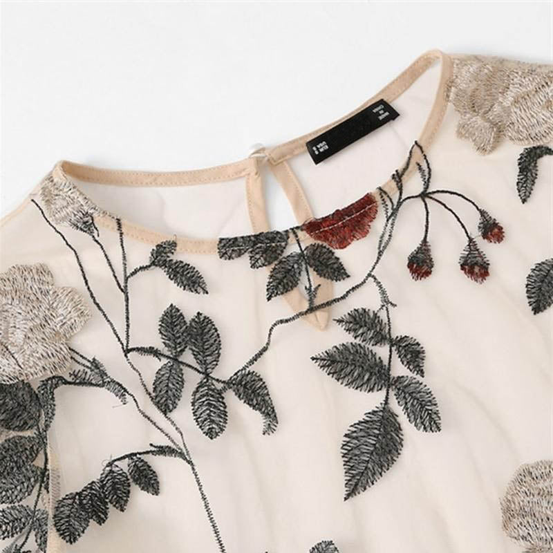 """EMBROIDERED FLORAL WHITE"" CROP TOP"