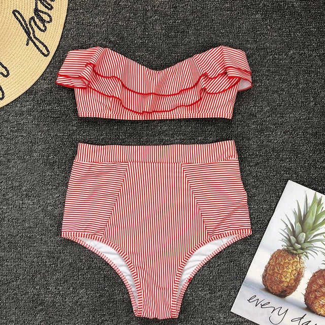 """STRAPLESS RUFFLE"" SWIMWEAR"