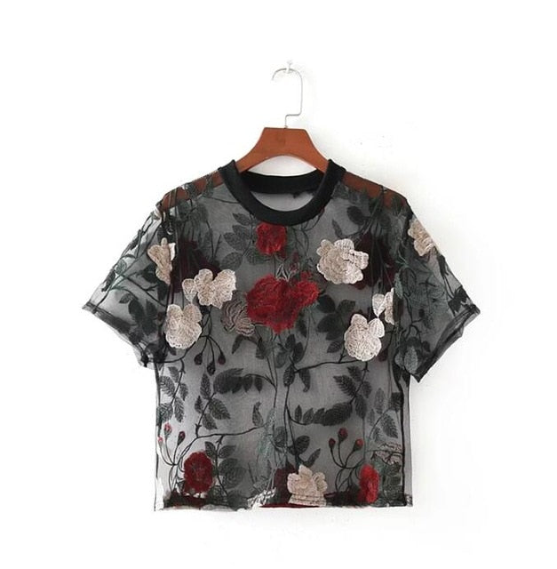 """EMBROIDERED FLORAL"" CROP TOP"