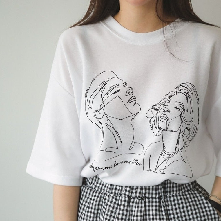 hahayule-JBH Women Korean Fashion Art Drawing T-Shirt Cute Ulzzang Oversized White Tee Street Style Shirt