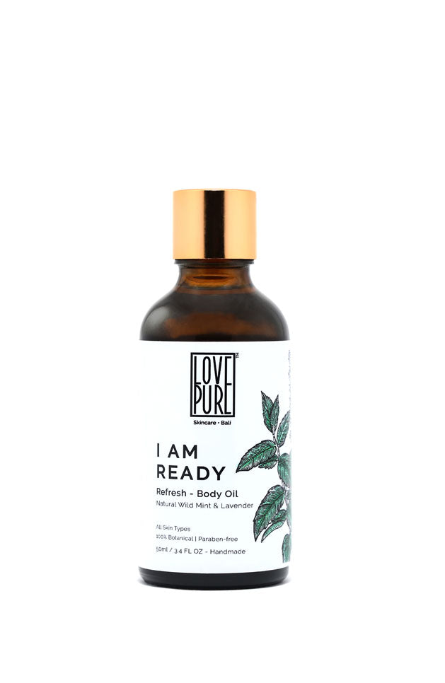 Refreshing Body Oil with Mint & Cacao Butter - I am Ready