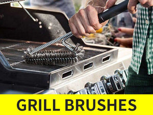 a man holding Ofargo grill brush to clean grill grids cleaning meat stains residues