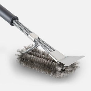 Grill Brush with 3-in-1 Stainless Steel Woven Wire