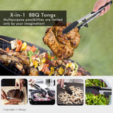 "BBQ Tongs with Silicone Tips and Feet, 9""+12"", 2 Packs"