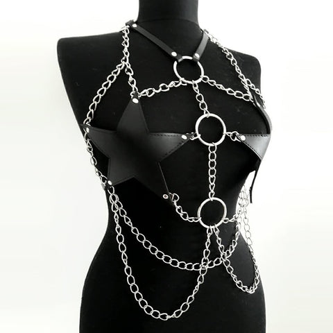 Star Leather Chain Harness