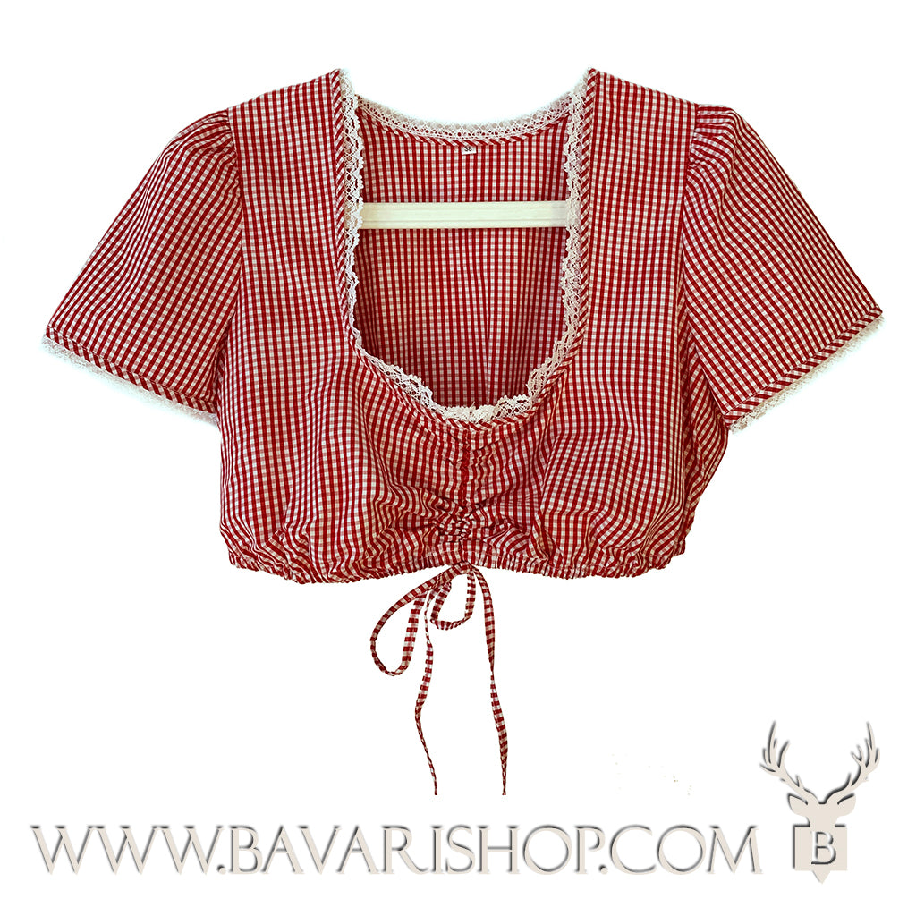 Authentic red chequered Bavarian Dirndl blouse, crop top