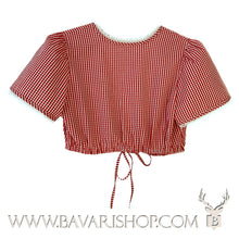 "Load image into Gallery viewer, Back of authentic red chequered Bavarian Dirndl blouse, crop top ""Nicole""-Bavari Shop"