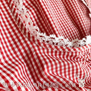 "White crochet hem on neckline of authentic red chequered Bavarian Dirndl blouse, crop top ""Nicole""-Bavari Shop"