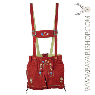 Authentic Bavarian Lederhosen for women with suspenders, red leather shorts