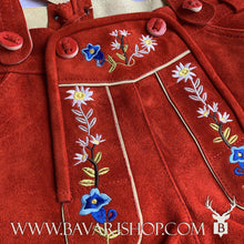 "Load image into Gallery viewer, Flower embroidery on authentic Bavarian Lederhosen for women with suspenders, red leather shorts ""Emma""-Bavari Shop"