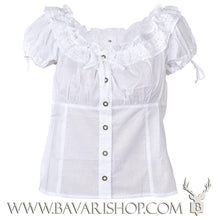 "Load image into Gallery viewer, Authentic Bavarian white folklore blouse for ladies ""Micha""-Bavari Shop"