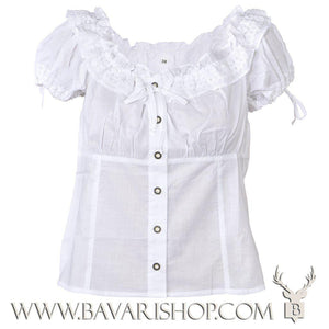 "Authentic Bavarian white folklore blouse for ladies ""Micha""-Bavari Shop"