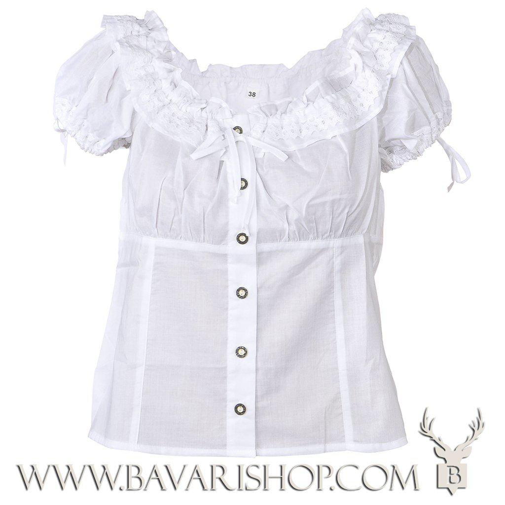 Authentic Bavarian white folklore blouse for ladies