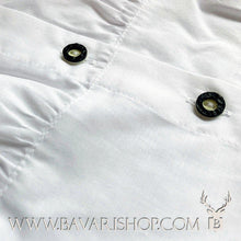 "Load image into Gallery viewer, Horn buttons of authentic Bavarian white folklore blouse for ladies ""Micha""-Bavari Shop"