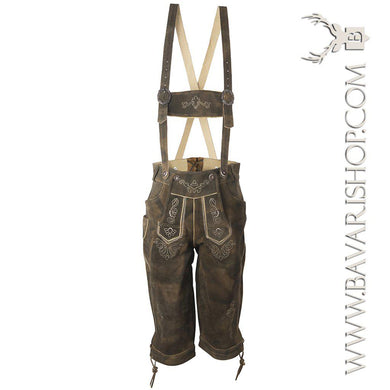 Authentic Bavarian Lederhosen for men with traditional suspenders - dark brown, knee long leather trousers