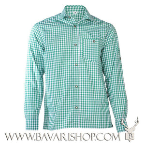 "Authentic Bavarian green chequered shirt ""Manne""-Bavari Shop"
